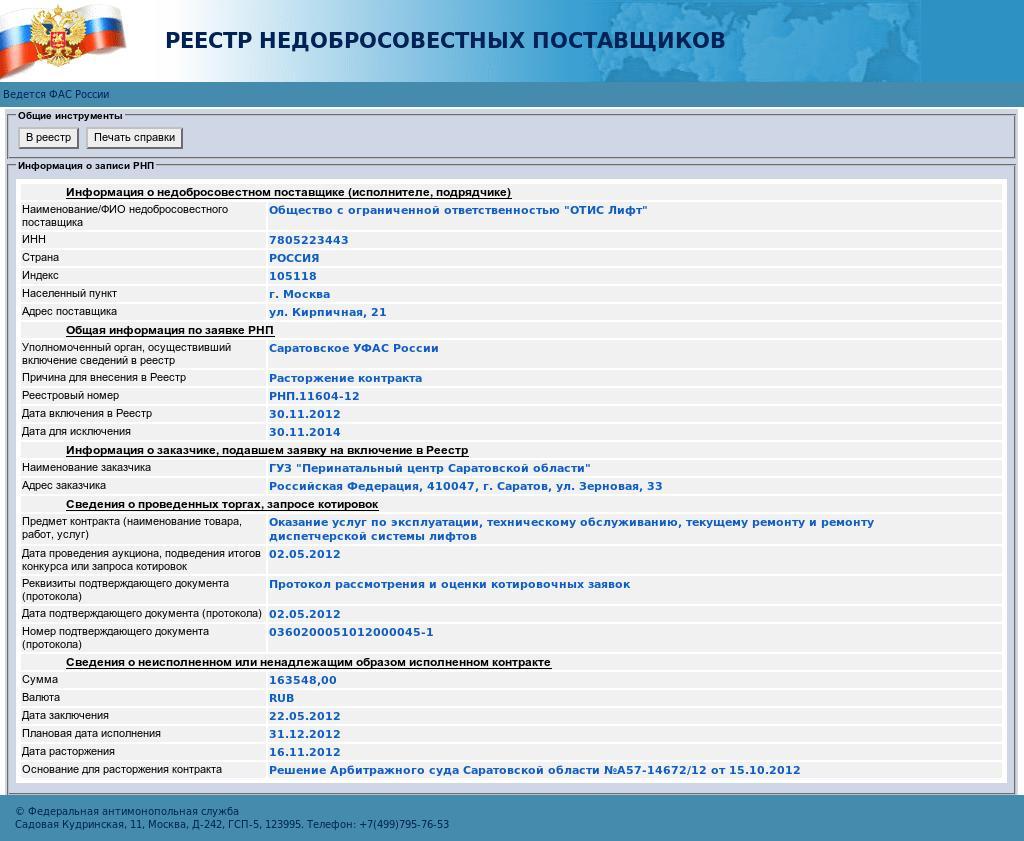 """ФАС включила ООО """"ОТИС Лифт"""" в реестр недобросовестных поставщиков"""